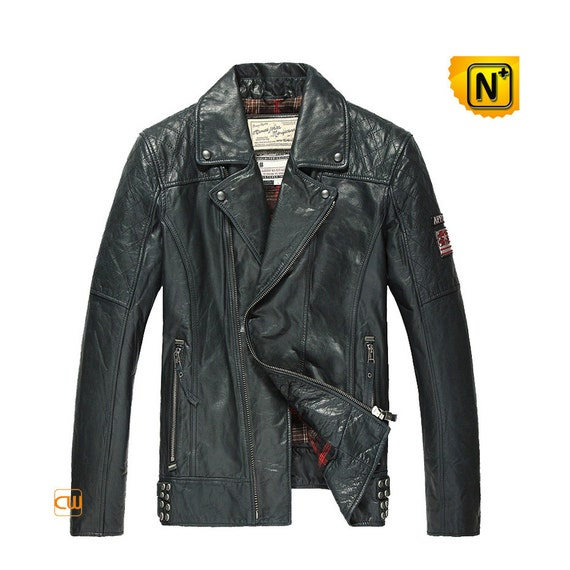Mens Distressed Leather Motorcycle Jacket CW850211