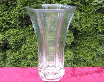 """Large 9"""" Vintage Hoosier Glass Crystal Clear Hexagonal Vase"""