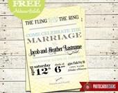 Bridal Shower Invitation | Typography Wedding Anniversary Reception Bridal Shower Photo Invitation | Card | DIY | Print file | invite