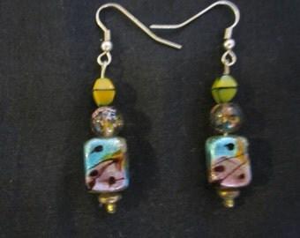 Handmade  Unusual Glass Beaded Earrings