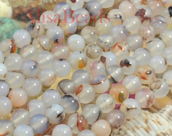 Natural Agate,smooth round,8mm,beads,15 inches