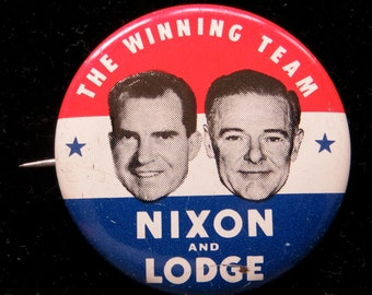 1960 Nixon and Lodge Photo Presidential Campaign Pin Back Button - Free Shipping