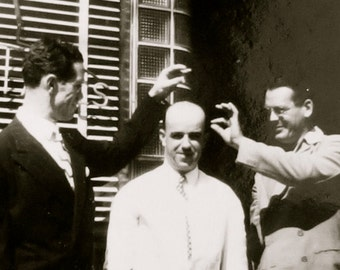 Silly 1940's Picking On The Bald Guy Snapshot Photo - Free Shipping
