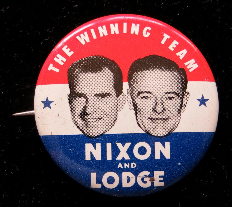 Rare Nixon Pins: 1960 Nixon And Lodge Photo Presidential Campaign Pin Back