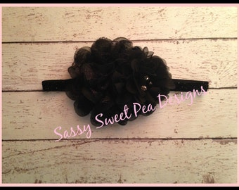 Black Chiffon and Lace Puffs with Mini Chiffon Flower with Accents on White Glitter Headband..Baby Hair Bow,...Photo Prop Bow, Baby Shower