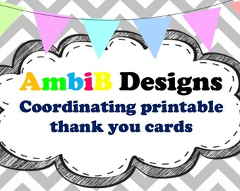 Add Coordinating Printable Thank You Cards To Any Invite