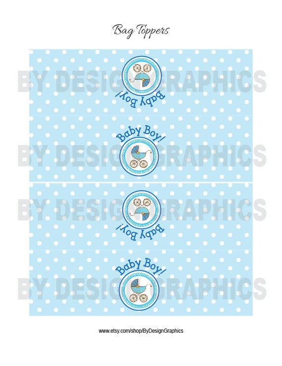 digital baby shower treat bag toppers labels blue and white polka