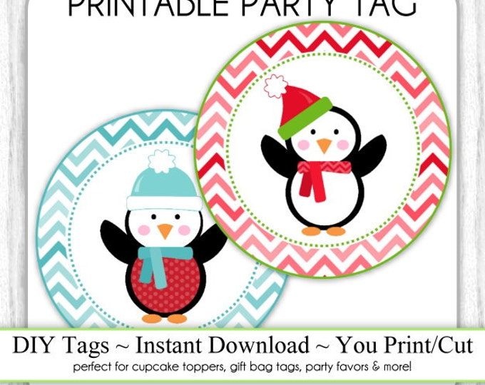 Instant Download - PARTY PACK - Chevron Christmas Printable Party Tags, Cupcake Topper, DIY, You Print, You Cut