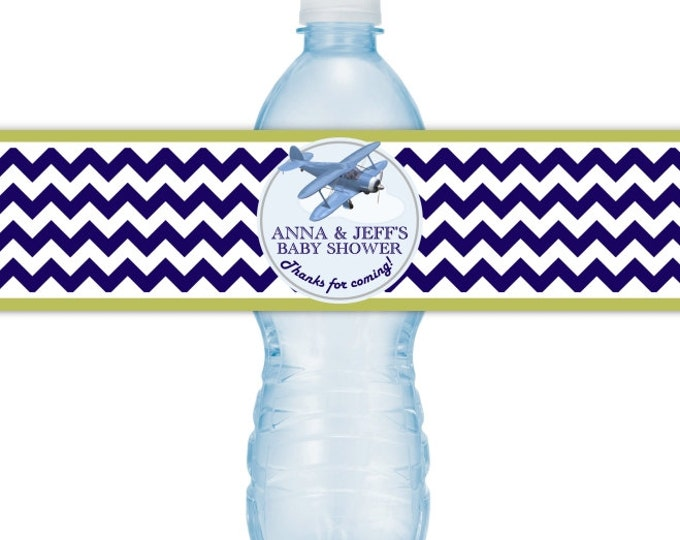 Baby Shower Water Bottle Labels, Baby Shower, CUSTOM Airplane Baby Shower Water Bottle Labels, Aviation Baby Shower, you print, you cut, DIY