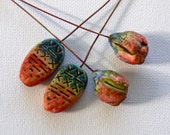 Ethnic- 2 polymer clay  primitive, tribal headpins