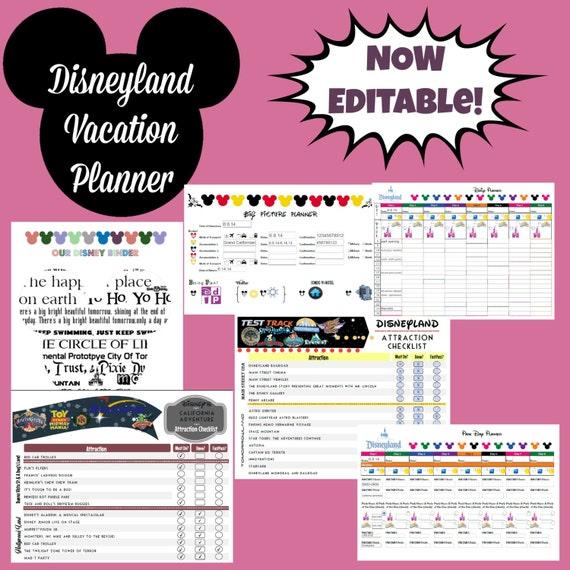 disneyland vacation planner binder set for 9 day by digitallyocd. Black Bedroom Furniture Sets. Home Design Ideas