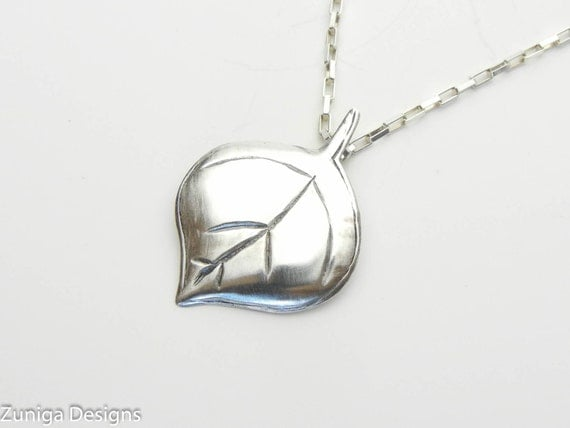 """Silver Aspen Leaf Pendant 1"""" x 1"""" with Sterling Silver Box Chain Necklace. Beautiful Gift for a Special Person."""