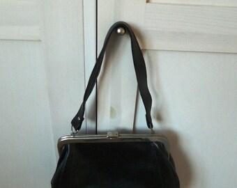 Elegant  black handbag from soviet era, made in USSR