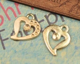 30 pcs of antique gold  love charm pendants  19x22mm beautiful gemstone pendants gem mounting