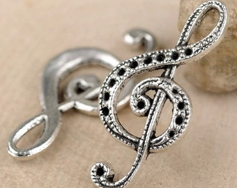 DIY jewelry -50 pcs antique silver musical note charm pendant  32x15mm musical  pendant