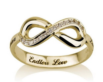 Infinity Ring, Gold  Infinity ring, Engraved Promise ring with Swarovski CZ, Eternity Ring, Forever Ring