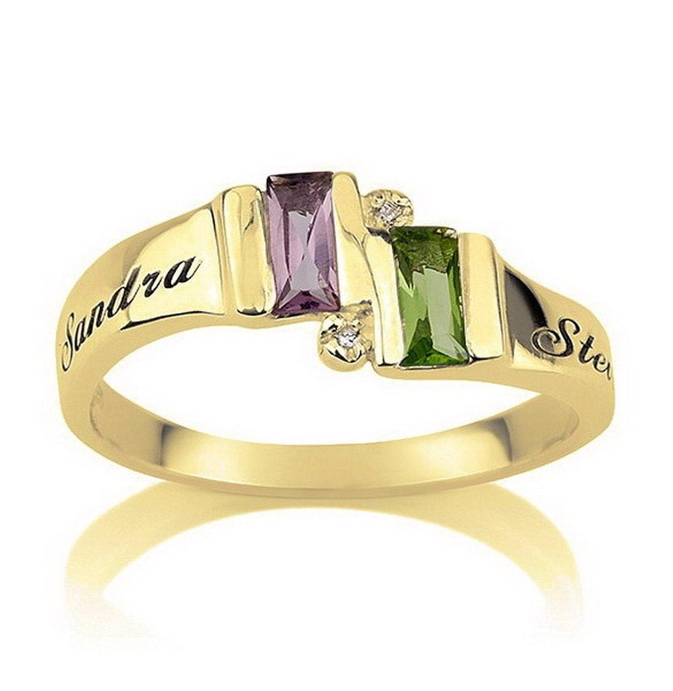 engraved promise ring couples birthstone gold by