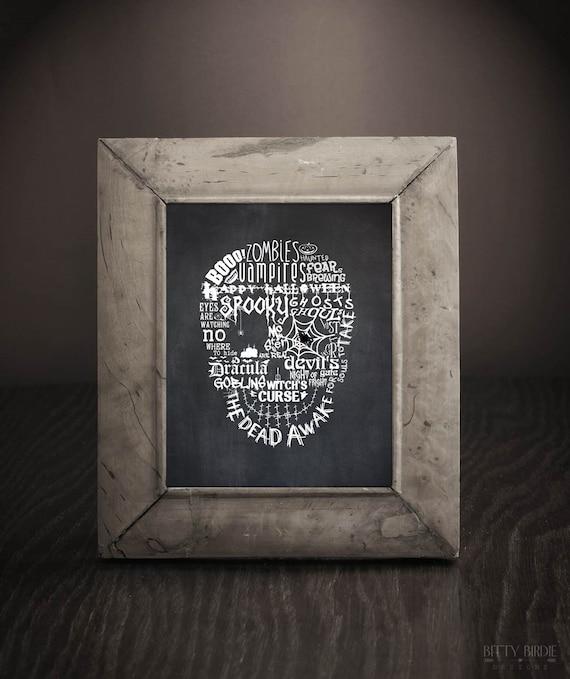 PRINTED Halloween Print Spooky Halloween Decor Skull