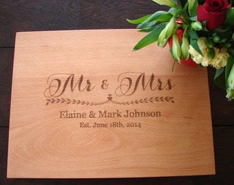 Mr and Mrs Custom Wedding Gift Cutting Board Bridal Shower Gift Anniversary Hosstes Gift Country Kitchen Decor Chopping Board