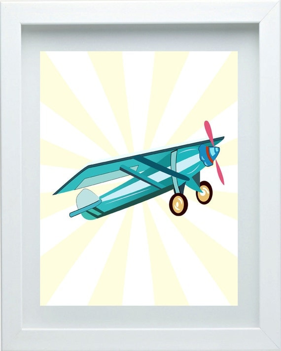 Aviation Art Boys Bedroom Decor Airplane Nursery Art Wall Art