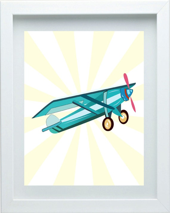 Aviation art boys bedroom decor airplane nursery art wall art Vintage airplane decor for nursery