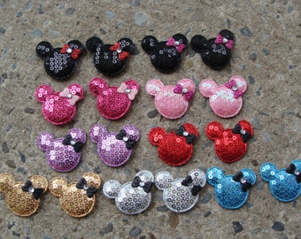 18 Minnie Mouse Sequin heads hair bow center minnie mouse resin