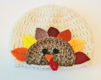 Adorable Thanksgiving Turkey Hand Crocheted Baby and Childrens Hat Great Photo Prop 5 Sizes Available
