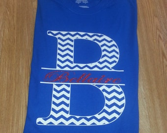 Chevron School Spirit Shirts With Glitter!