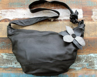 Black leather purse with flower-shoulder bag with a flower-all leather