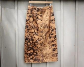 Long Acid Wash Skirt - Vintage Button Down Skirt - 90s Grunge Skirt - 80s Punk Skirt - A Line Skirt - Distressed Denim Skirt - Jean Skirt