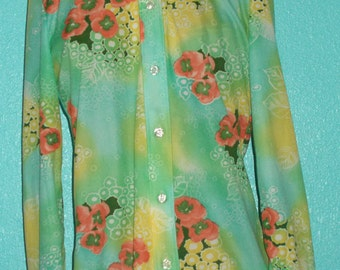 1970s Vintage Mint Green/Turquoise Floral Polyester Ladies Disco Shirt — Size 12, Large
