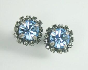 Crystal earrings,crystal stud earrings,aquamarine earrings,black diamond earrings,swarovski earrings,blue crystal earrings,something blue