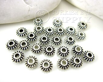 20 pc Saucer Spacer Beads, Tibetan Silver Spacer Beads, Antique Silver Plated Bali Style Bead Spacer
