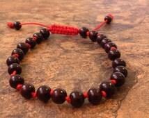 Hand Knotted Adjustable Rosewood Beads Wrist Mala Bracelet