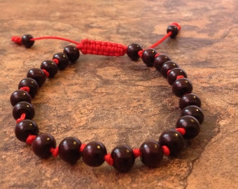 Hand Knotted Adjustable Rosewood Beads Wrist Mala Bracelet