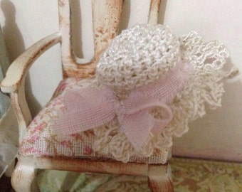 1/12 lady crochet hat miniature dolls house hand made shabby chic