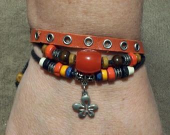 Handmade Women's Leather Flower Charm Bracelet