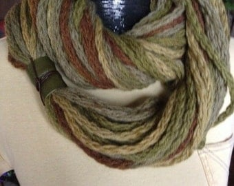 Scarf, Greens, Brown, Mustard Yellow with Green/Brown leather embellishment on side.