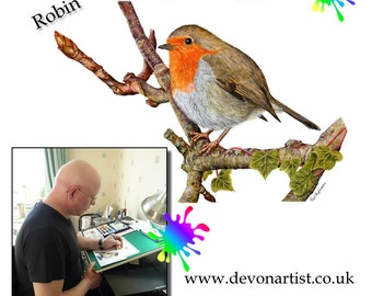 Learn to Paint lesson in Watercolour and Acrylic - Robin Red Breast Bird - PDF instant art download - 11 Pages - Bird Painting Tutorials