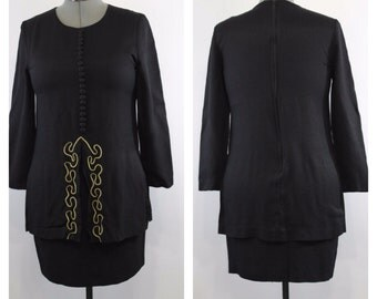 80s Little Black Dress Long Sleeve Dress Mini Dress Short Black Dress Fall Clothing Womens Dresses Medium Size 8 / 10