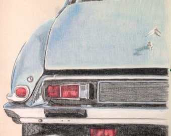 Drawing of the rear corner of a Citroen DS 23.