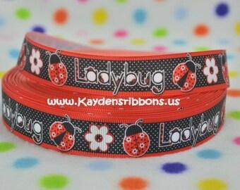 3 yards Ladybug Flower - Red & Black - 7/8 inch - Printed Grosgrain Ribbon