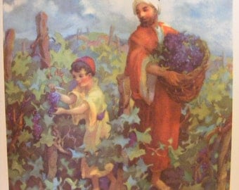 Vintage 1939 Lithograph Harvesting Grapes Religious Print Christian Buy 2 get 1 Free