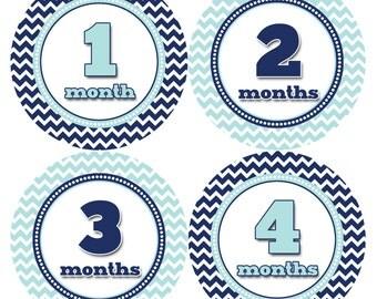 Monthly Baby Milestone Stickers Baby Boy Baby Shower Gift One-Piece Baby Stickers Monthly Baby Stickers Baby Month Sticker 326