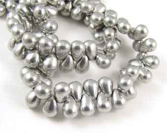 Metallic Silver Tear Drop 4x6mm Czech Glass Beads 50pc #382