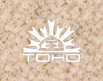Frosted Ceylon Light Ivory  #147F Toho Japanese Glass Size 11 Seed Beads 11/0 +/- 20g Tube #z202