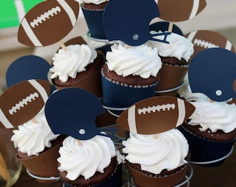 Football and Helmet Cupcake toppers superbowl tailgate party broncos seahawks 49ers saints
