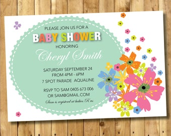 Instant Printable Invitation - DIY CUSTOM Printable 'Flower Fall' Baby shower Invitation