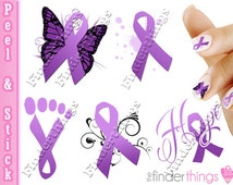 Relay for Life Purple Ribbon Variety Nail Art Decal Stickers RIB905