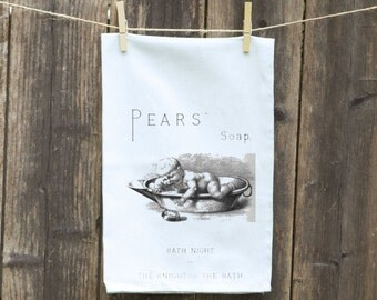 Pears Soap Flour Sack Towel- Vintage Soap Advertisement, Funny Tea Towel, Peras Baby, Dishcloth, Hand-Kitchen-Vintage Pear's Soap Ad